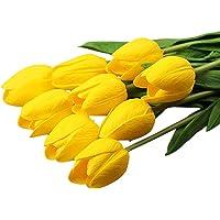 GlobalDeal - Tulipanes de cuero sintético para decoración del hogar, 10 unidades, color rosa