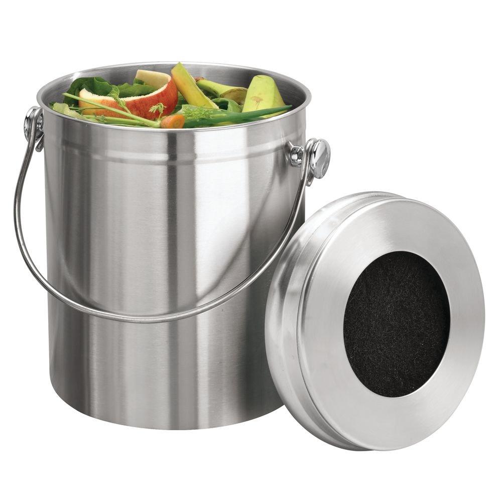 InterDesign Basic Compostador compacto de cocina con filtro de carbón, cubo de reciclaje portátil para restos de comida en acero inoxidable, plateado