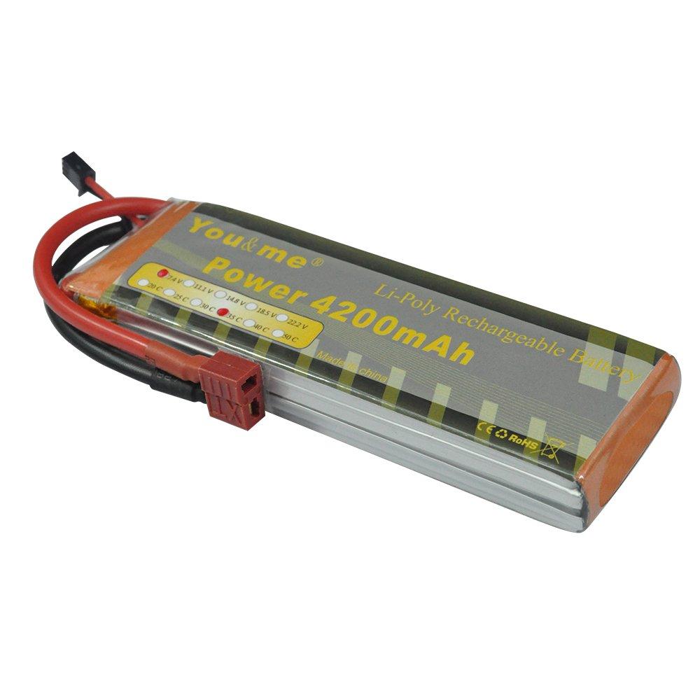 Youme 2S 7.4V 4200mAh 30C Li-Po batería con conector Deans T para coche RC Hobby RC coche RC barco RC camión: Amazon.es: Juguetes y juegos