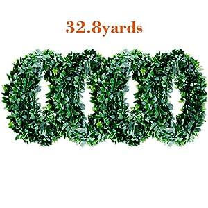 32.8 Yards Artificial Ivy Garland Foliage Green Leaves Fake Vine Headband Artificial Leaf Vine Fake Hanging Plants for Wedding Party Ceremony DIY Headbands 2