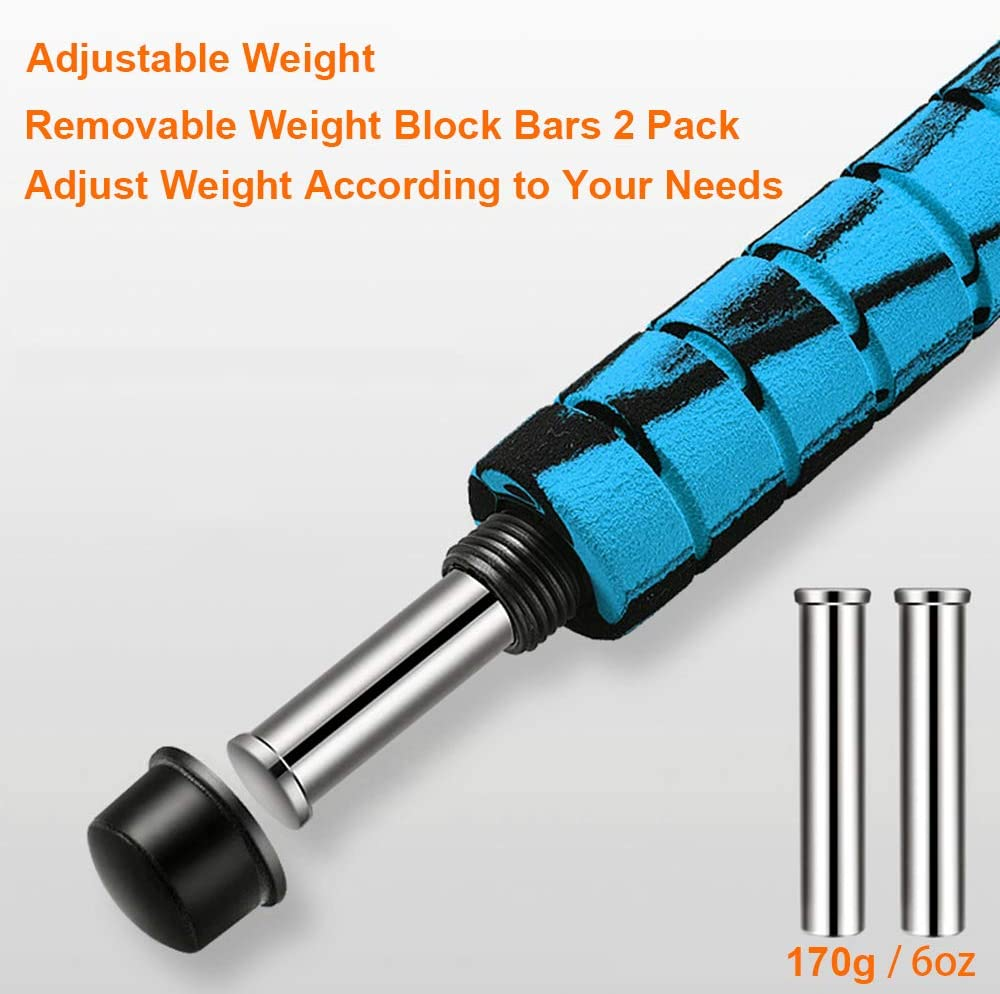 Removable Weights Load Block Bar for Jump Rope Handle Metal Block for Weighted Skipping Rope Heavy Workout Women Men Professional Crossfit Strength Training Cardio Endurance Fitness Exercise 6oz 2Pcs