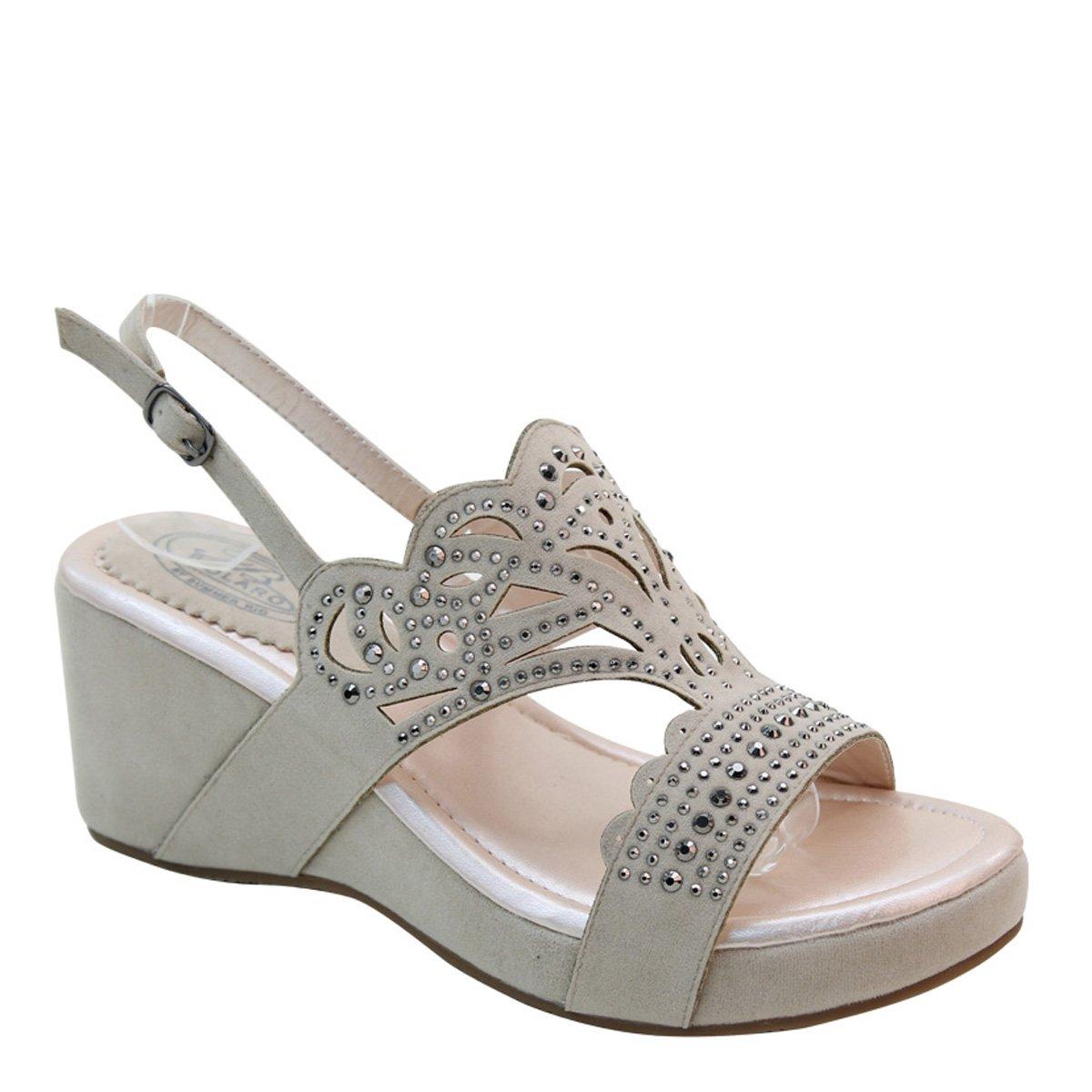 Brieten New Womens Bling Studded Cut-Out Wedge Platform Slingbacks Comfort Sandals