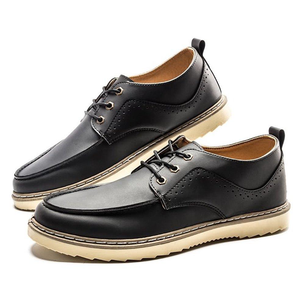 Lederschuhe Männer Lederschuhe Loafer Flache Ferse Lace up Einfarbig British Style Freizeitschuhe Dark Gray