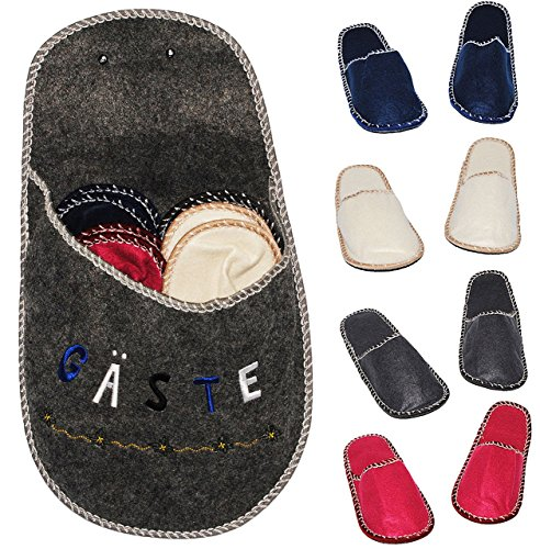 "XL Set: Gästepantoffeln / Hausschuhe - "" Gäste ""- incl. XL Schuh zur Aufbewahrung - für Erwachsene & Kinder - bunte / einfarbige Pantoffeln - Filz Schuhe Schuh / Hausschuh - Superweich - Slipper - Pan"