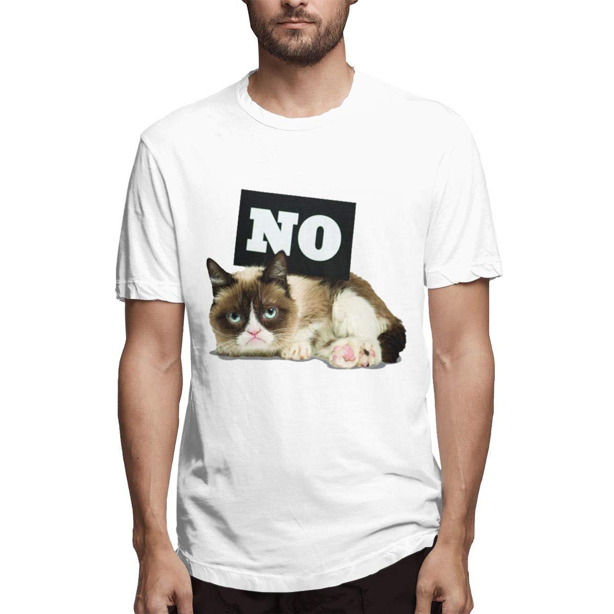 VIIHAHN Mens Round Neck Short Sleeve Shirt Slightly Elastic Grumpy Cat How About No Print 100/% Cotton Shirts Tee