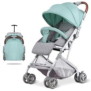 Wanlianer Carrito de Bebe Cool portátil bebé al Aire Libre Cochecito Plegable bebé Cuna Fácil de Llevar Recién Nacido y niño pequeño (Color : Verde): ...