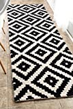 "black and white kitchen nuLOOM MTVS174A Hand Tufted Kellee Wool Runner Rug, 2' 6"" x 8', Black"