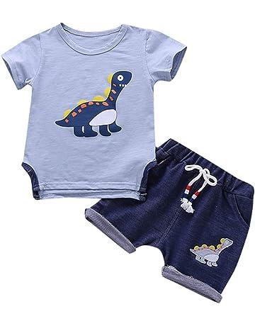 d0d4ca6ad Berimaterry Conjuntos Bebé NiñO Verano Recién Nacido Infantil Bebé Niño Niña  Dibujos Animados Color Rayas Tops