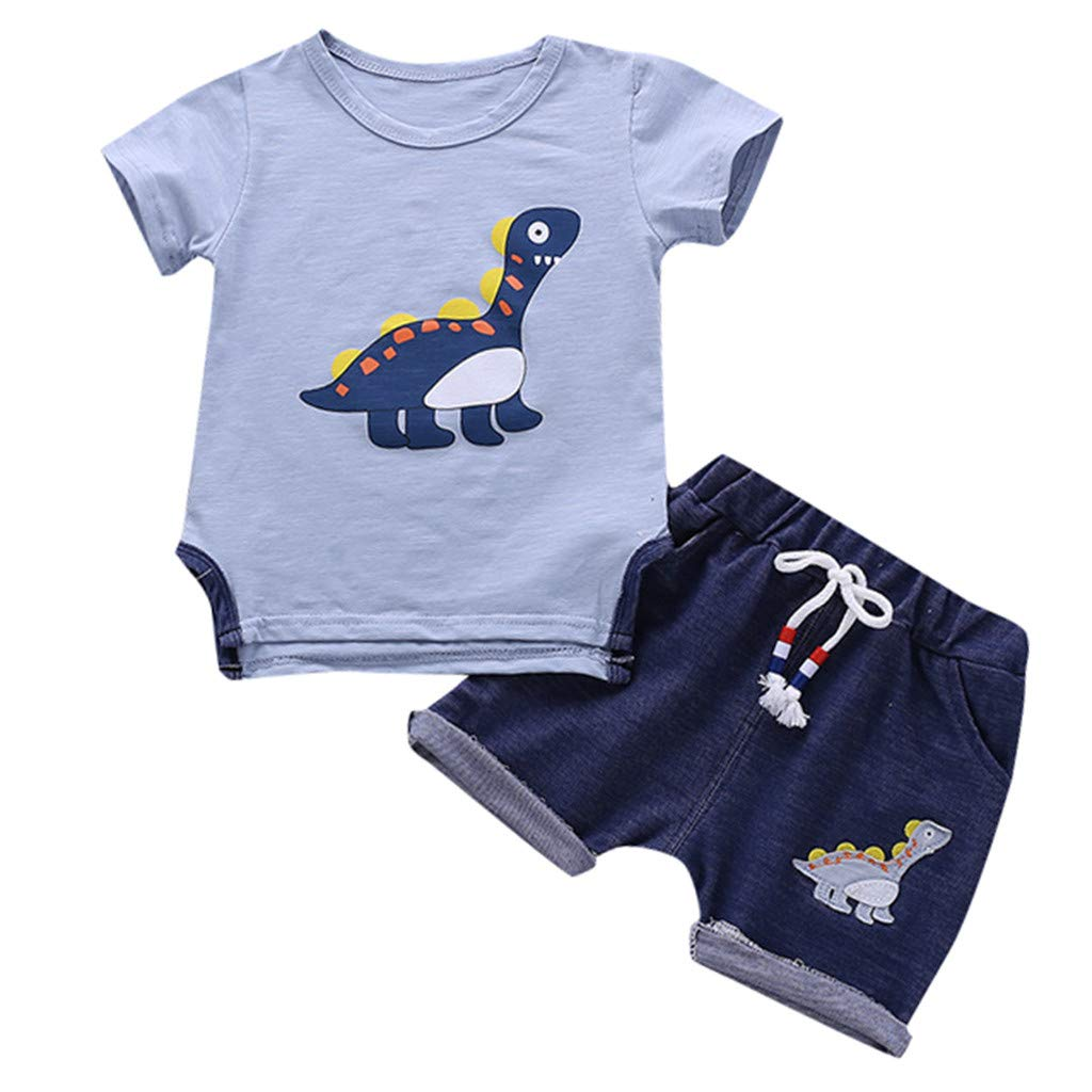 Baby Boys Tee Outfits Set, Kids Short Sleeve Dinosaur Cartoon T Shirt Tops Shorts Suit Clothes Set 6M-3Y (18-24 Months, Light Blue)