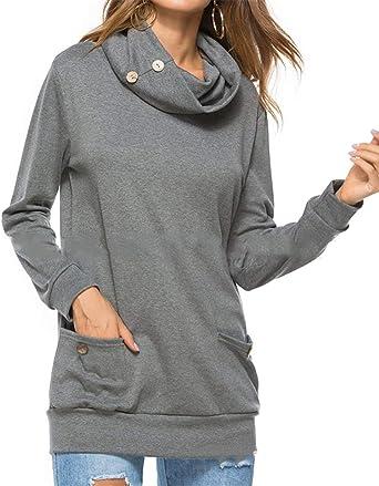 Suéter Blusa Mujeres Camisa Capucha T Tapas Delgadas Blusa Ocasional Tops Camisa De Algodón Tops Rundhalspullover Luz (Color : Grey, Size : 2XL): Amazon.es: Ropa y accesorios