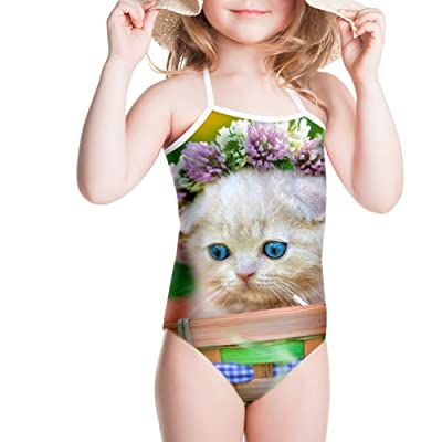 LedBack Cute Cat Swimsuit One Piece for Kids Girls Beach Wear Bikinis 3-8 T
