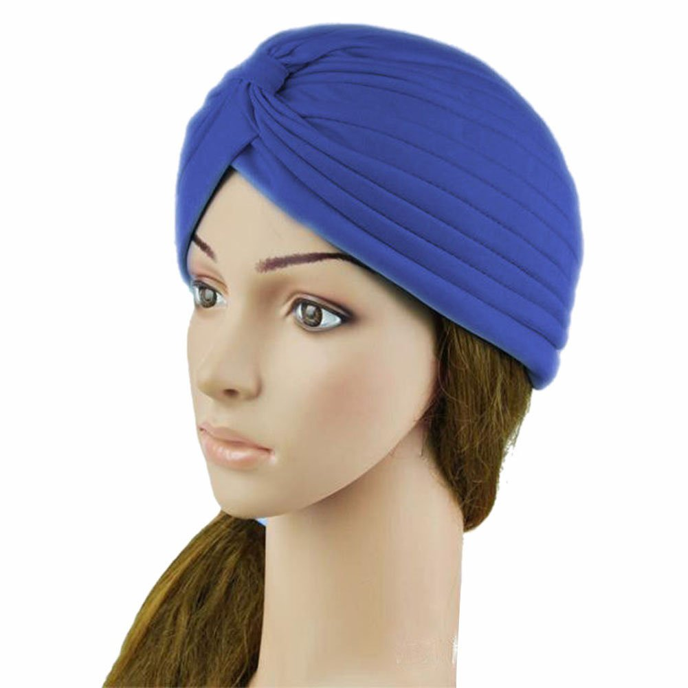 Weixinbuy Women Indian Style Headwrap Cap Turban Hat Hair Cover Blue WBL T0299 DL