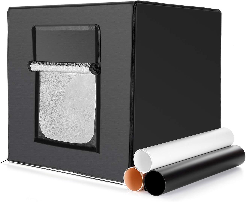 PAVLIT Caja de Luz Fotografia, 60 x 60 x 60cm Estudio Fotografía Pórtatil, 2 Tiras de LED con Ángulo Ajustable y Luminosidad Regulable, 3 Fondos (Blanco/Negro/Naranja), Bolsa de Transaporte: Amazon.es: Electrónica