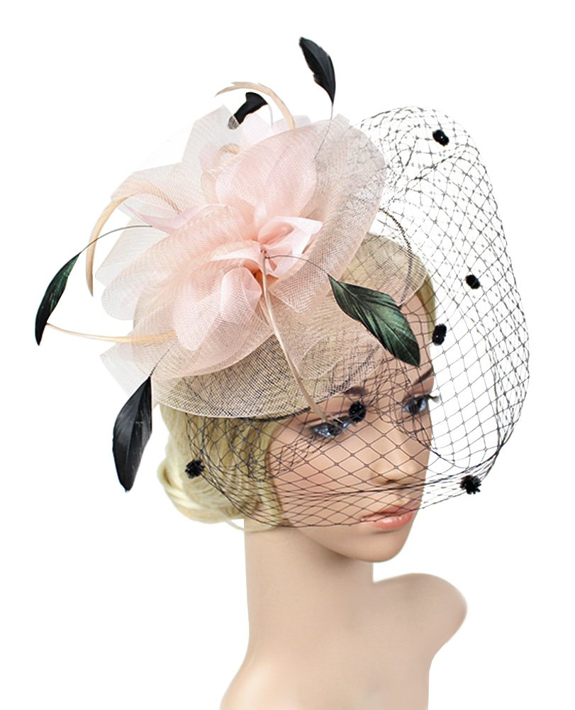 Urban CoCo Women's Bow Feather Net Veil Fascinator Hair Clip Bridal Hat (#3-Nude Pink)