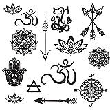 Yoga Mini Designs Temporary Tattoo Set - Mini Mandala, Lotus, Hamsa, Aum, Arrows, Compass - Yoga Gift Accessory - 28 Total Temporary Tattoos - Cut Apart and Share - Sheet 8'' x 5''
