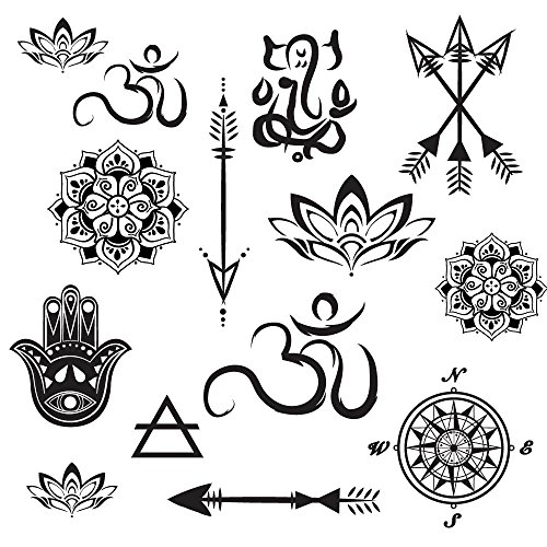 Yoga Mini Designs Temporary Tattoo Set - Mini Mandala, Lotus, Hamsa, Aum, Arrows, Compass - Yoga Gift Accessory - 28 Total Temporary Tattoos - Cut Apart and Share - Sheet 8'' x 5'' by myTaT
