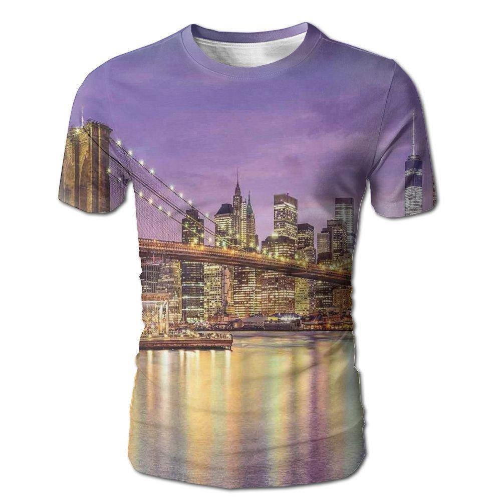 c4d39a7e1 Amazon.com: Edgar John NYC Exquisite Skyline Manhattan Broadway Old  Neighborhood Tourist Country Print Men's Short Sleeve Tshirt: Clothing