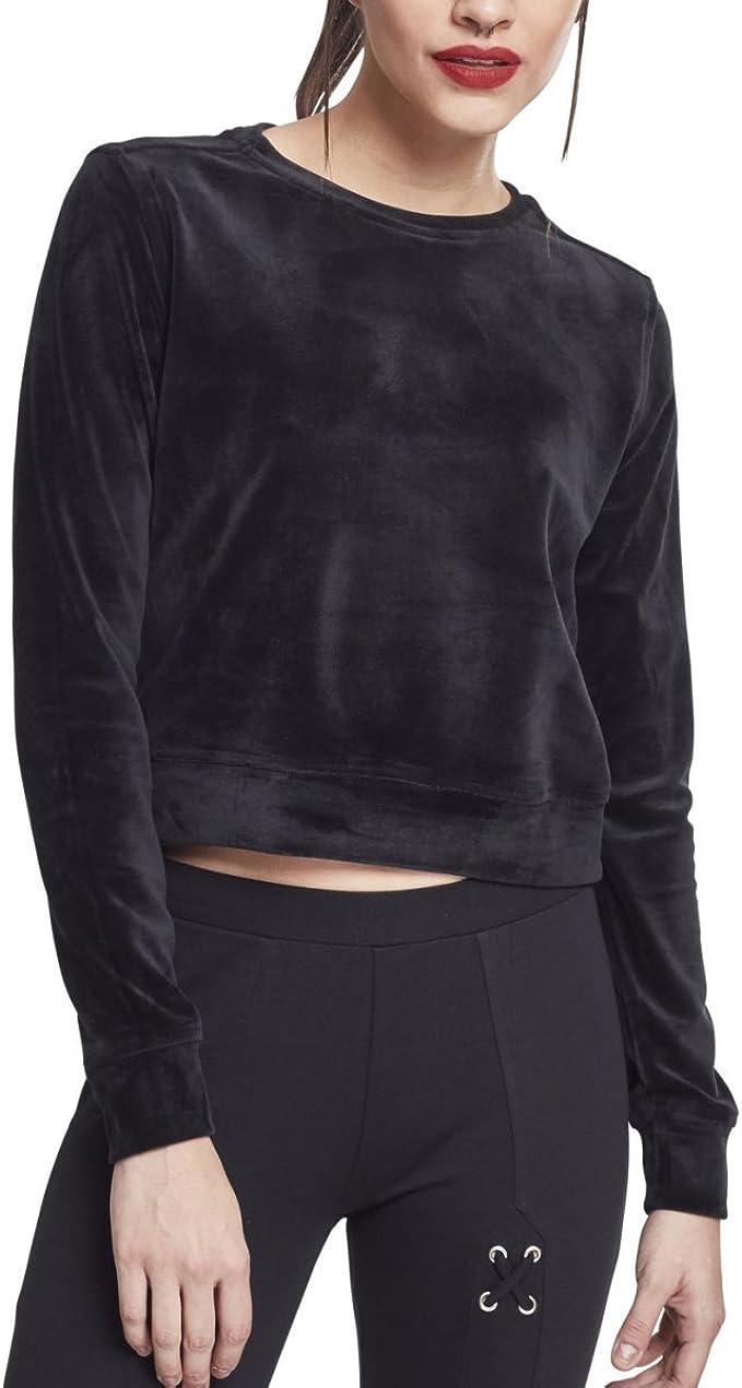 Urban Classics Pull Femmes Ladies Short Velvet Crew Black