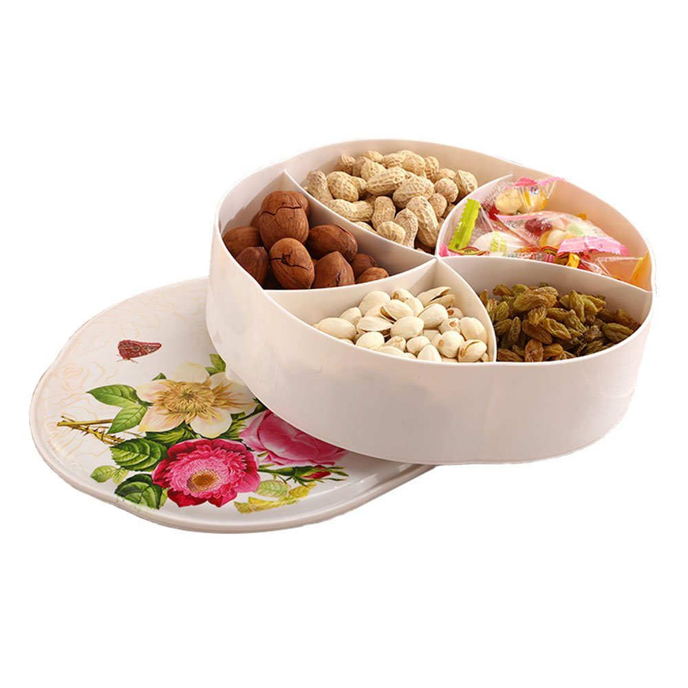 Creative Party Snacks Serving tray with Lid,Multi Sectional Snack Bowls Snack Container Box for Storing Dried Fruits, Nuts, Candies, Fruits Perfect for Daily Use DM