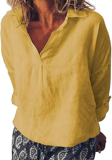 Qingsiy Camisetas Mujer Manga Corta 2019 Verano Moda para Mujer Suelta Cuello en V de Lino Talla Grande Sólido Diario Casual Camisa Blusa Blusas Chaleco De Fiesta Playa para Mujer: Amazon.es: Ropa