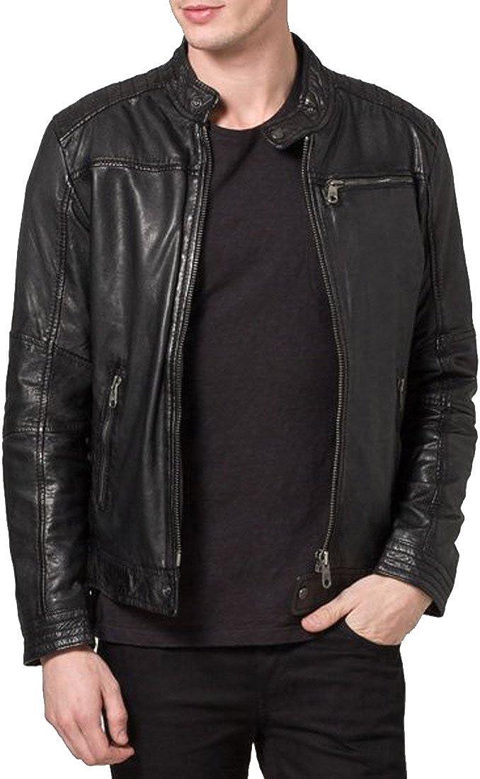 Mens Genuine Lambskin Leather Jacket Slim fit Motorcycle Jacket/ N381