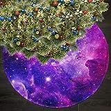 AHOOCUSTOM Galaxy Purple Merry Christmas Tree Skirt