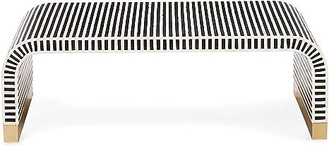 Amazon Com Beautiful Monochrome Stripe Bone Inlay Coffee Table End Decorative Waterfall Kitchen Dining