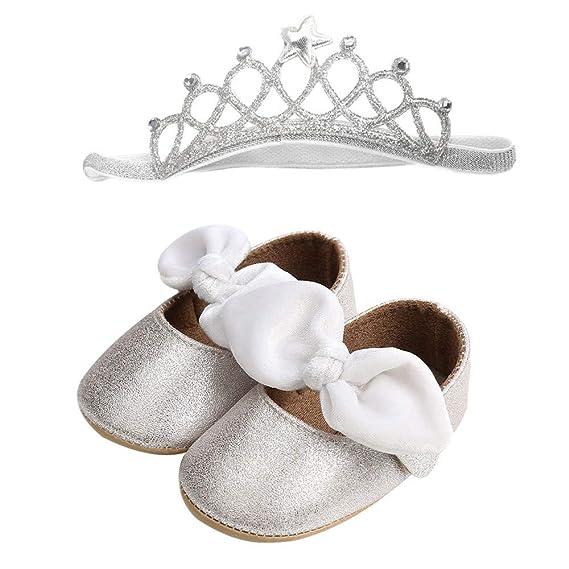 Fossen Zapatos Bebe Niña Bautizo - Zapatos de bebe con lentejuelas +  Diadema  Amazon.es  Ropa y accesorios 732d342519ec