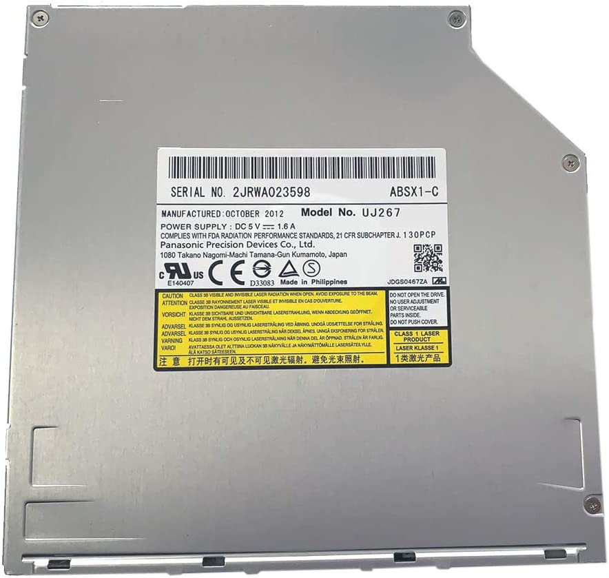 UJ267 UJ-267 9.5mm SATA Slot-in 6X 3D Blu-ray Burner BD RW Drive for MacBook Pro Dell Alienware M14x XPS 14z 15z and Sony Vpcz1 Vpcz117gg Laptops