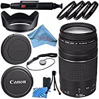 Canon EF 75-300mm f/4-5.6 III Lens 6473A003 + 58mm Macro Close Up Kit + Lens Cleaning Kit + Lens Pen Cleaner + 58mm Tulip Lens Hood + Fiber cloth Bundle