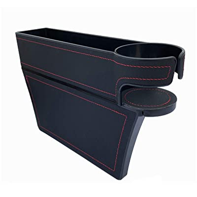 LucklyJone Car Seat Gap Filler, PU Leather Console Side Pocket, Car Seat Pocket Organizer Catcher Caddy for CellPhones Wallet Coin with Cup Holder Black (Driver Side): Automotive