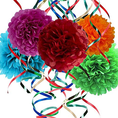 25 Piece Party Decorations Set - Tissue Paper Flowers + Plastic Swirls Bundle - Party Streamers - Tissue Paper Pom Poms - Multi-Color