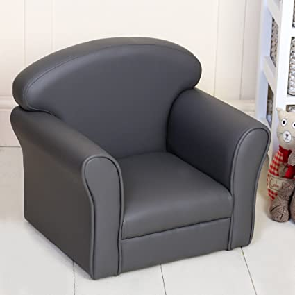 Gris Niños de piel sintética sillón - fácil de limpiar ...