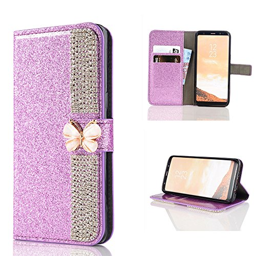 Price comparison product image Wallet Making Elaco Leather Card Magnetic Case Cover For Samsung Galaxy S8 5.8inch/S8 Plus 6.2inch (Purple, S8 5.8inch)
