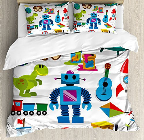 Lunarable Boy's Room Duvet Cover Set Queen Size, Colorful Toys with Cartoon Art Style Robot and Dinosaur Ship Controller UFO, Decorative 3 Piece Bedding Set with 2 Pillow Shams, Multicolor ()