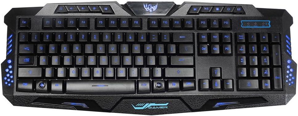 GJJ Key Cap Tri-Color Backlit Game Mouse Keyboard League of Legends-Three-Color Backlit Wired Keyboard,Black,A