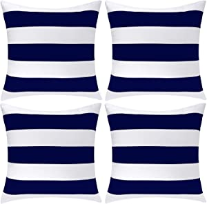 Aneco Pack of 4 White and Navy Blue Waterproof Pillow Covers Outdoor Throw Pillowcases Square Garden Cushion Case for Home, Garden, Patio, 18 x 18 Inches