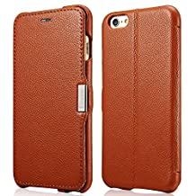 iPhone 6s Plus / iPhone 6 Plus Case, Benuo [Litchi Pattern Series] [Genuine Leather] Case with 1 Card Slot, Stand Feature & Magnetic Closure, Ultra Slim Grain Leather [Card Holder] Case for iPhone 6 Plus (2014) / iPhone 6s Plus (2015) - (Brown)