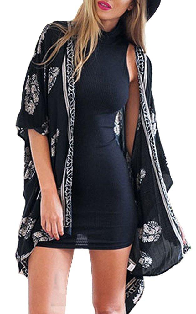 Women Fashion Beach Cover up Loose Chiffon Kimono Cardigan Coat Printed Blouse Top (Small, Black)