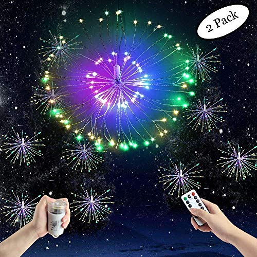 FOOING 2 Pack 120 LED Firework Copper Wire Lights,8 Modes Dimmable String Fairy Lights with Remote Control,Battery Operated Hanging Starburst Lights Waterproof for Parties Home Outdoor Decoration