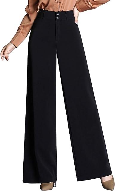 Laemilia Pantalones Para Mujer Color Negro Con Cintura Alta Monocromos De Tela Elegantes Negro 38 Amazon Es Ropa Y Accesorios