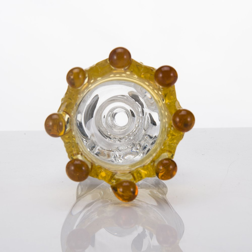 14mm Male Clear Yellow Crown Skull Crown Glass Herb Holder Smoking Bowl