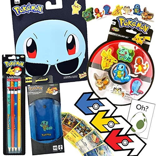 Squirtle Pokemon ColorBoxCrate Gift Set, 9 Pack, Squirtle Sunglasses, Pokemon Go Charger, Pokemon Erasers, Pokemon Pencils, Pokemon GO Trade Stickers Mystic Valor Instinct, Pokemon Cards, Oh Egg Decal