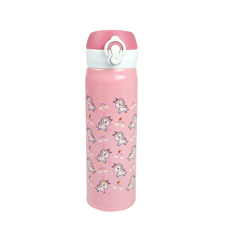 Emartbuy 500 ml Acciaio Inossidabile Vacuum Isolato Borraccia Caldo e Freddo Bottiglia d'Acqua Carina Cool - Unicorno Bianca