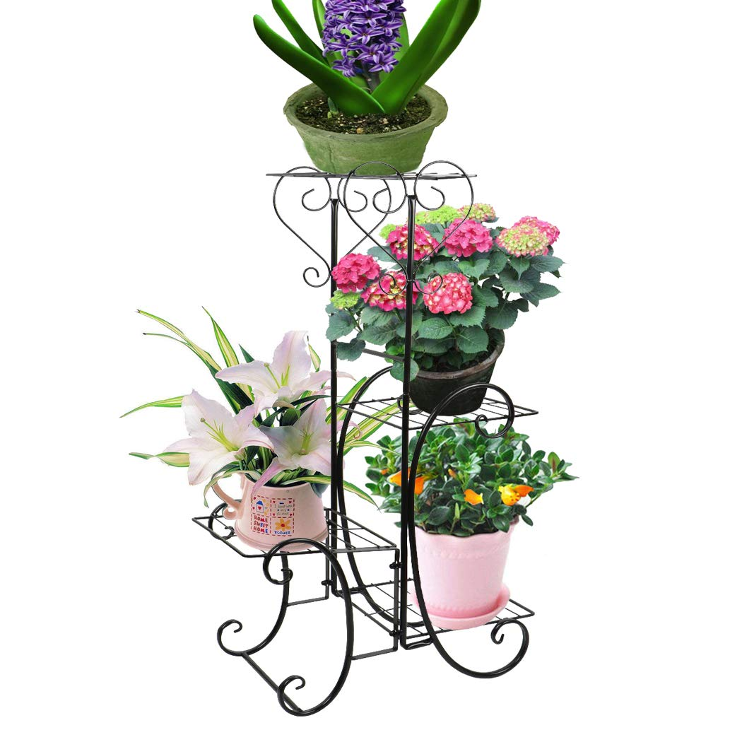 Plant Stand,UNHO Metal Flower Display pots Outdoor Garden Plant Holder with 4 Tier Shelves for Indoor Black by UNHO
