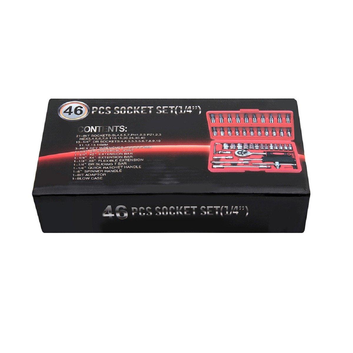 MultiWare 46 Pc 1//4 Screwdriver Socket Set Ratchet Bit Torx Pozi Hex Screw Drive