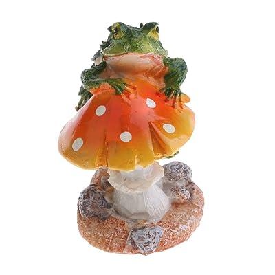 Resin Mushroom with Animal Ornament Fairy Garden Mushroom Garden Pots Decoration Pottery Ornament for DIY Dollhouse Potting Shed Flowerpot Plants Statue - Frog Orange Mushroom: Home & Kitchen