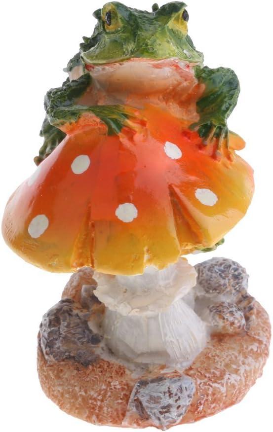 Resin Mushroom with Animal Ornament Fairy Garden Mushroom Garden Pots Decoration Pottery Ornament for DIY Dollhouse Potting Shed Flowerpot Plants Statue - Frog Orange Mushroom