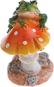Resin Mushroom with Animal Ornament Fairy Garden Mushroom Garden Pots Decoration Pottery Ornament for DIY Dollhouse Potting Shed Flowerpot Plants Statue - Frog Orange Mushroom