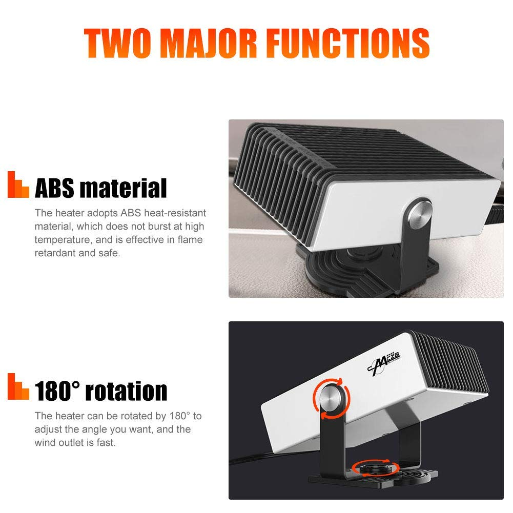 180 Degree Whirling//Low Noise Portable Car Heater 2 In 1 24V Plug in Car Heater Windshield Defogger Heater /& Cooling Fan